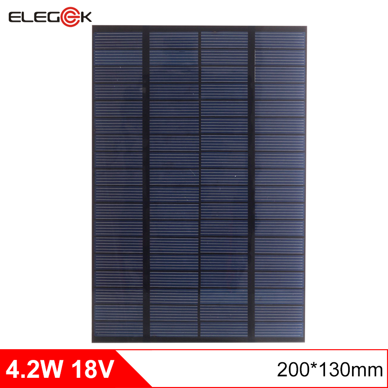 ELEGEEK 4.2W 18V DIY Solar Cell Polycrystalline PET + EVA Laminated Mini Solar Panel for Solar System and Test 200*130mm(China (Mainland))