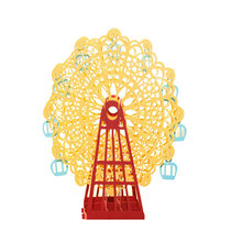 1pc Yellow Papercraft Pop-Up 3D Ferris Wheel Valentine Cards May Love Goes Round And Round for Wedding Party Decor Gift 15*15 CM