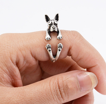 Drop Shipping Punk Vintage 3D Boston Terrier Animal Wrap Ring Boho Chic Fashion Boston Terrier Dog Ring Cute Rings For Women Men