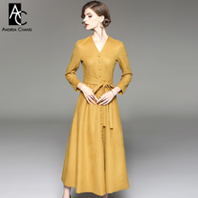 autumn winter woman dress yellow dark army green small plaid pattern dress with belt v-neck single breasted ankle length dress(China)