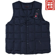 Free shipping Men's clothing waistcoat cotton down vest V-neck cotton-padded jacket navy blue color plus size XL~7XL