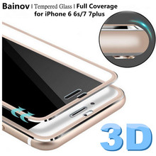 Bainov 3D Curved Edge Tempered Glass Full Coverage For iPhone 7 Titanium Protective Film Screen Protector For iPhone 6 6s Plus(China)