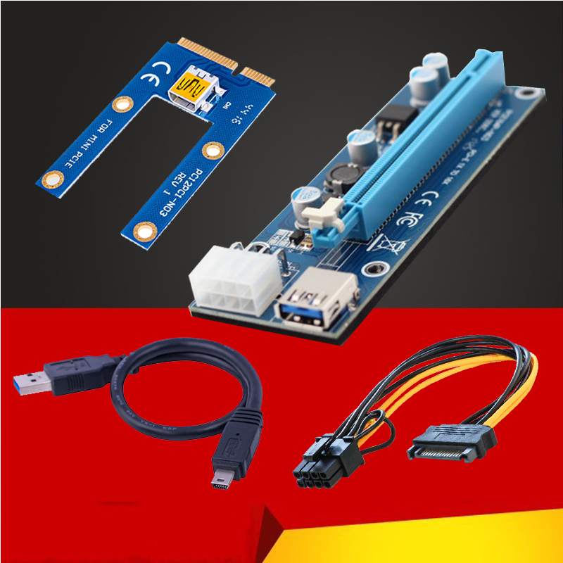 Mini PCI-E PCI Express Extender Riser Card 1x to 16x PCIE Mining Card USB 3.0 Data Cable 8Pin Power Supply for BTC Miner Machine(China)