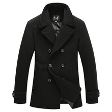 Top Fashion Men's Wool Coat Outwear Autumn Winter Slim Fit Double Breasted Long Section Pea Coat Trench Jacket Coat Homme M-XXXL