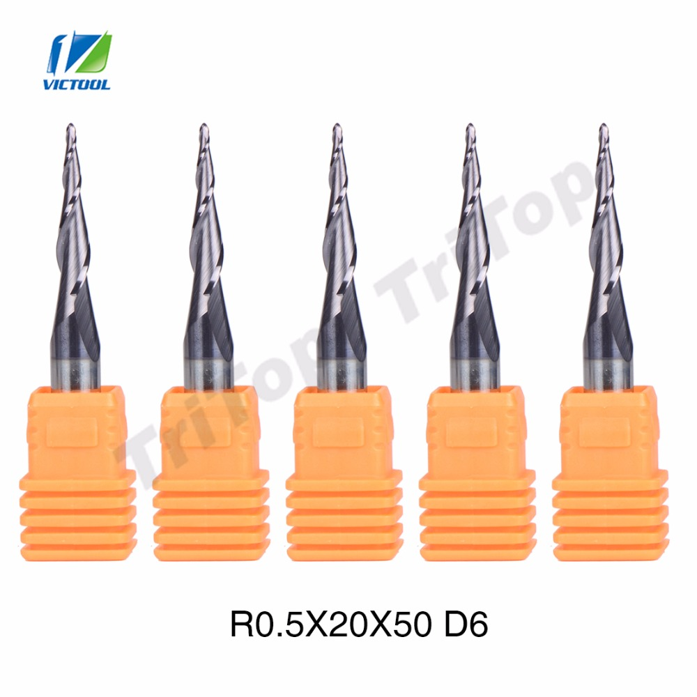 5pcs/lot R0.5*D6*20*50L*2F HV3300 solid Tungsten carbide Coated Ball Nose Taper End Mill cone type cnc milling cutter tool<br><br>Aliexpress