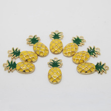 LEENAHAR-10pcs/lot Zinc Alloy 24*12MM Yellow & Green Tropical Hawaiian Pineapple Fruit Charm Pendant Gold Tone DIY Jewelry