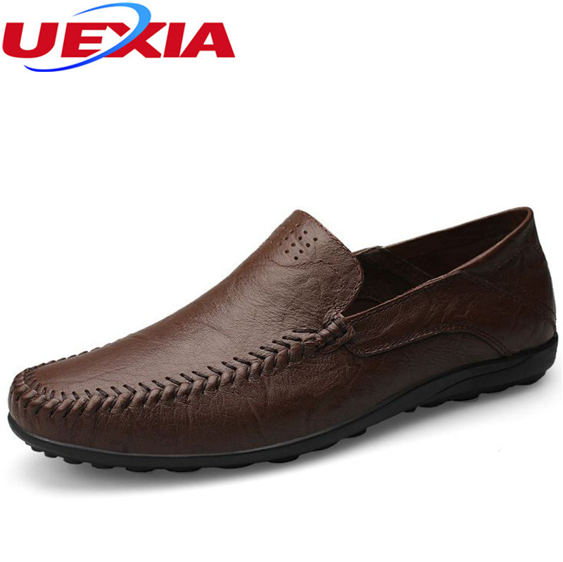 Plus Size Leather Fashion Casual Mens Shoes Casual Driving Loafers Boat Men Flats Shoes Soft Working Moccasins Big Size 37-48<br>