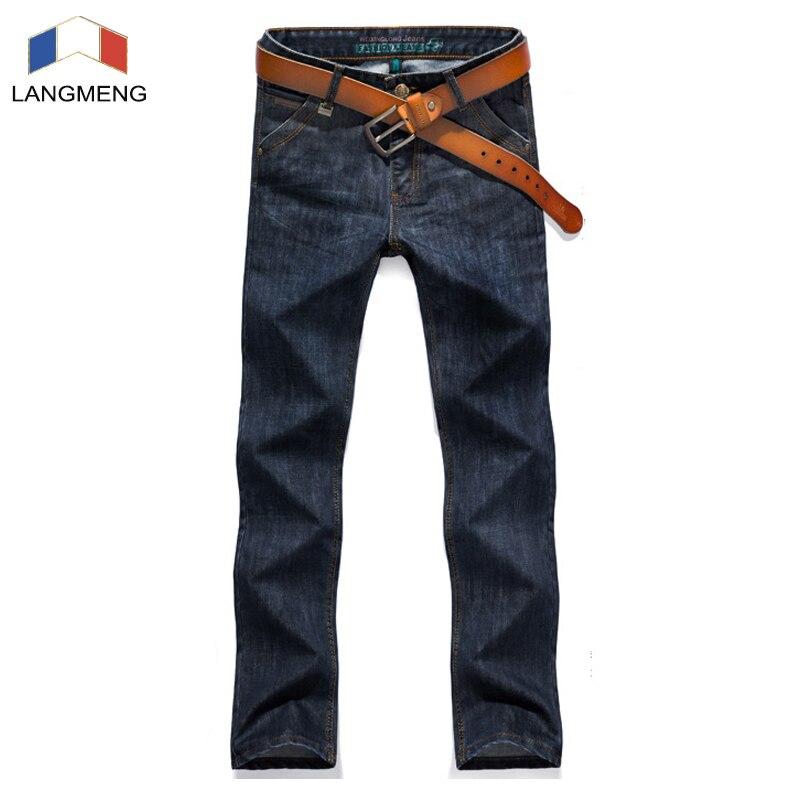 LANGMENG 2017 Brand New Men Soft Casual Jeans Fashion Men Jeans Mens Brand Designer Loose Waist Long Straight Pants TrousersÎäåæäà è àêñåññóàðû<br><br>