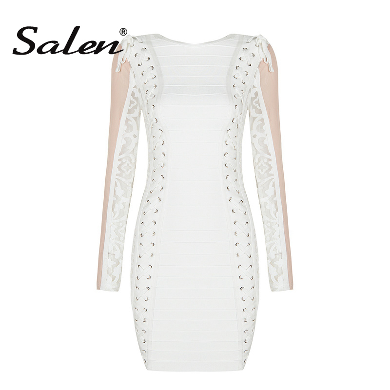 Salen Sexy Summer Full Sleeve Mini Women Bandage Dress Solid O Neck Autumn Sheath Lady Dress Femme Vestidos 2017 New Arrival