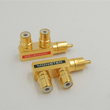 2pcs Gold Plated AV Audio Splitter Plug Adapter 1 RCA Male to 2 RCA Female(China)