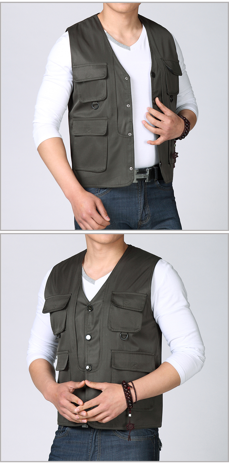 Spring Autumn Man Casual Vest Army Green Black Waistcoat For Men Leisure Gilet Male Herringbone Vest Multi Pockets Waistcoat Mens Weskit (4)