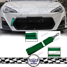 JDM TA Logo Tow Hook Strap FIA Approved Track Drifting Universal Black Green Tow Bar