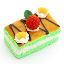 Home Decor Decoration Crafts Miniatures color Pu Sponge Simulation Square Fruit Butter Cake Food Model