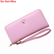 Do Not Miss New Lovely Pokemon Wallet for Women Pink Long Leather Clutch Zipper Dog Wallet Female Wrist Large Purse Phone Pocket