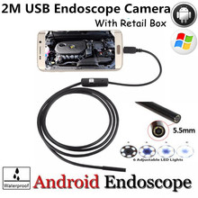 High Quality 5.5mm Len 2M Android OTG USB Endoscope Camera Flexible Snake USB Pipe Inspection Android Phone USB Borescope Camera