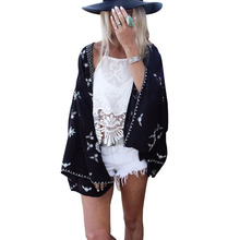Summer Style 2017 Women Tops Fashion Lady 3/4 Sleeve Front Open Kimono Cardigan Lace Patchwork Loose Casual Blouse Plus Size