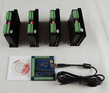 CNC TB6600 mach3 usb 4 Axis Kit, 4pcs TB6600 1 Axis Driver + one mach3 4 Axis USB CNC Stepper Motor Controller card 100KHz(China)