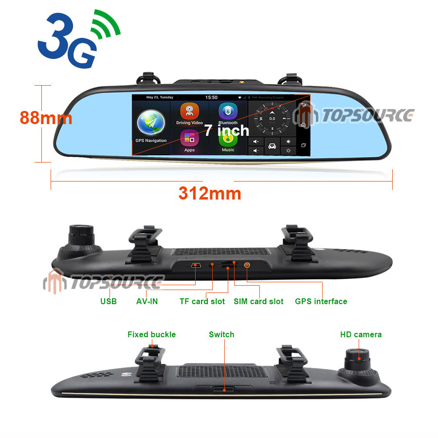 """TOPSOURCE Auto GPS ANDROID 5.0 1G/16G 3G 7"""" IPS Car DVR Mirror Camera Dual Lens 1080P Video Recorder Dash Cam Parking Monitor 14"""