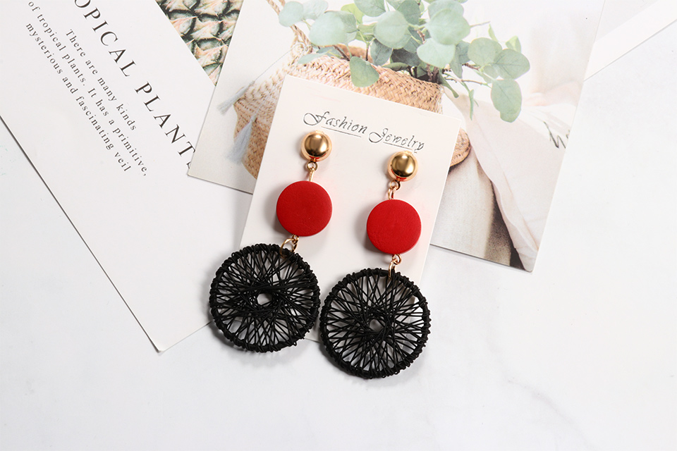 ZWC 19 Fashion Luxury Simple Big Round Earrings For Women Fashion Korean Style Hollow Mesh Drop Earrings Statement Jewelry 3