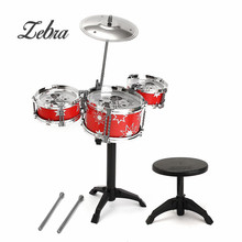 2 Colors Kids Early Educational Toys Jazz Drum Drumsticks Rock Set with Chair For Musical Instrument Birthday Gift(China)