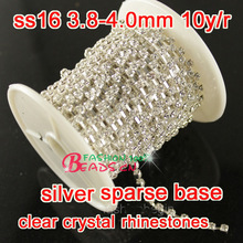 10 Yards  crystal Quality glass sew on 4mm SS16 Crystal silver Sparse Rhinestone Cup Chain For Dress Decoration