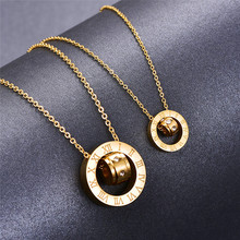 Martick 316L Stainless Steel Gold-color Crystal Pendant Round Double Loop Roman Numerals Link Chain Necklace For Women G4(China)