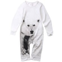 Fashion Baby Romper Infant Newborn Boy Girl Clothes 2017 Autumn Winter Long Sleeve Christmas Wolf Printed Jumpsuit Rompers(China)