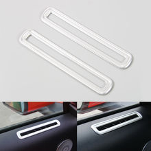 BBQ@FUKA 2x ABS Car Interior Side Door AC Vent Decoration Cover Trim Silver/Red/Silver Fit For Ford Mustang 15-2016(China)