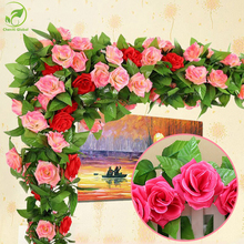 Wholesale 245cm Fake Silk Roses Ivy Vine Artificial Flowers With Green Leaves Wedding Decoration Home Wall Hanging Garland Decor