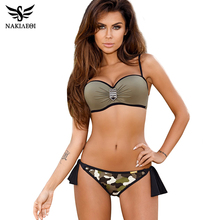 Buy NAKIAEOI Push Swimwear Bikini Women Swimsuit Female Summer Sexy Bandeau Bikini 2018 Printed Halter Beach Bathing Suit Biquini