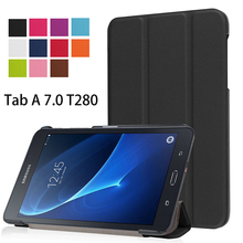 Folio Stand PU Leather Cover Case For 2016 New Case For Samsung Galaxy Tab A A6 7.0 T280 T285 SM-T280 cover magnetic Case Funda(China)