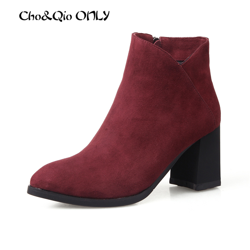 Fashion Casual Handmade Genuine Sheep Skin Leather Martin Boots Women Chelsea Shoes Square Heel Ankle Shoes Big Size 34-42<br><br>Aliexpress