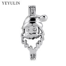 Trendy Alloy Santa Christmas Tree Snowman Angel Perfume Diffuse Loket Pendants For Women Men Necklace DIY Jewelry Making 10pcs