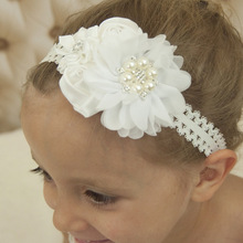 3PCS Puff Flowers Rose Buds Flower with Pearl Rhinestone Flower headbands Lace Hairband Fancy Outfit Baptism Gift