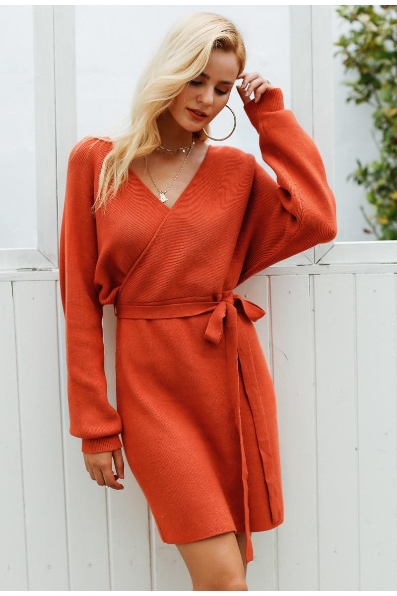 shop V neck knitted warp dress long sleeve winter dress