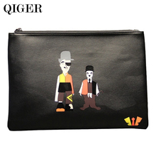 QIGER Male/Female Men/Women Cartoon Design Cover Clutch Bag Leather Handbags Purse /Ipad /Phone Daily holder Bag
