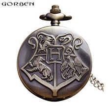 Hogwarts Harry Potter Necklace Pocket Watch Vintage Pocket Watches Men Women Watch Chain Steampunk Fob Watch Retro Quartz Clock