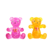 2 Colors Crystal 3D Puzzle Assembly Puzzle Translucent DIY 3D Puzzle Bear-shaped Kids Toy Nice Gift for Children(China)