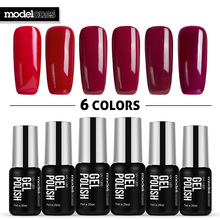 Modelones 6pcs/lot Fashion Vampire Red Color UV Nail Gel Lacquer Led Lamp Professional UV Nail Gel Varnish French Style Nail Gel