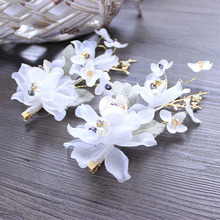 white series bride headdress long hair flower wedding hair ornaments handmade bridal beach wedding hairpin decoration