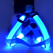 LED Light Leash Harness Pet Dog Chest Straps Luminous Adjustable Harness Leashes Safety Light Nylon Tag #25