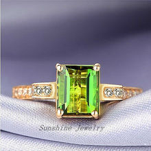 Solid 14k Yellow Gold Natural Green Tourmaline & . Engagement Wedding Rings Free shipping