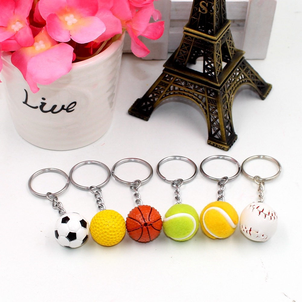 Basketball Soccer Volleyball Tennis Keychain keychain key ring pendant creative birthday gift toy Kids collection Model Figure<br><br>Aliexpress