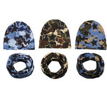 New Fashion Autumn Winter Baby Hat Children Hat Scarf Collars Camouflage Boys Girls Beanies Kids Cap Infant Hats Set Baby Caps(China)