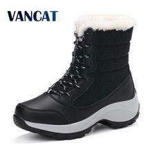 VANCAT Women Snow Boots Winter Warm Boots Thick Bottom Platform Waterproof Ankle Boots Women Thick Fur Cotton Shoes Size 41
