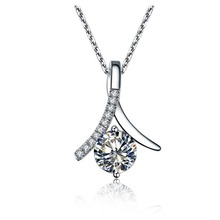 Free 925 Necklace 18inches 1CT SONA Simulate Diamond Pendant Sweater Engagement Chain Sterling Silver Round White Gold Plated