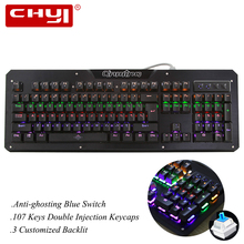 CHYI Gaming Mechanical Keyboard with Blue Switch Blacklit Wired Keyboard 104Keys Double Injection Keycap Wrist Support for Gamer