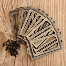 DIY Decoration 12Pcs Antique Brass Metal Label Pull Frame Handle File Name Card Holder For Furniture Cabinet Drawer Box Case Bin
