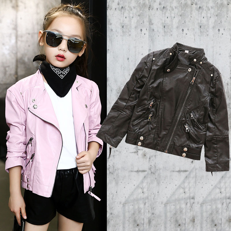 PU leather kids jacket autumn 2018 spring motorcycle little big girls jackets and coats black  children clothing 14 10 12 years<br>