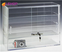 Acrylic 3 shelves desk top display case with sliding locking doors  JS163